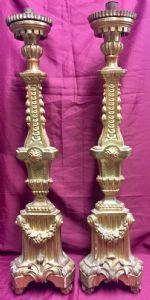 Pair of Neoclassical golden candlesticks