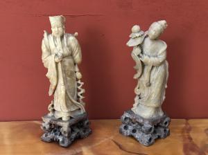 Paar chinesische Figuren in Jade