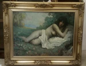 Óleo sobre masonita, figura de una mujer.