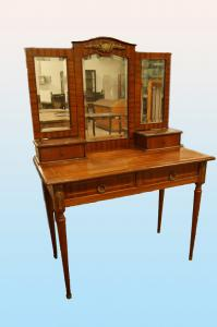 Antique French Louis XVI style dressing table from the 1800s in mahogany