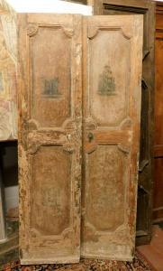 pti613 - puerta con dos puertas con chinoiserie pintada, 103 xh 209 cm