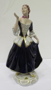Statuina dama porcellana e biscuit - statua - blu cobalto - elegantissima!