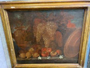 Dilinto drl XVII secolo raffigurante natura morta , scuola lombarda .  90 x65