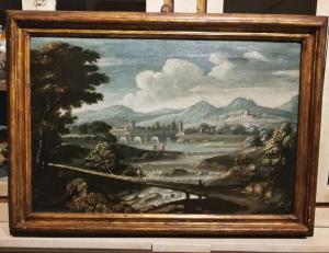 Bella coppia di paesaggi fluviali con personaggi della prima metà del XVIII (80 x 50 ciascuno)
