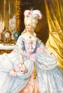 """""""Elegante dama da corte"""" - Quadro sobre painel de Antonio Rivas"""