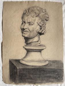 Charcoal drawing on cardboard depicting a marble male bust Arturo Pietra 1901 Bologna