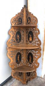 Etagere openwork wooden corner wall light With medallions with popular scenes. Sorrento.