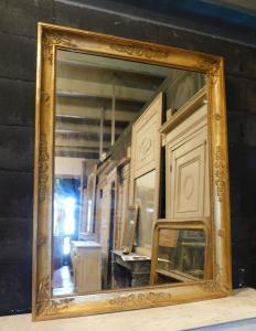 specc324 - gilded mirror, first half of the 19th century, measuring cm l 93 xh 125 x d. 5 cm