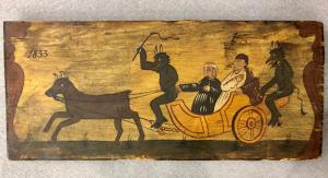Panel in painted Sicilian cart wood with scene painted characters with diavoli.data 1833.