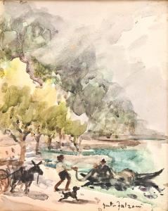 乔治·法尔佐尼(Giorgio Falzoni)纸上水彩,乔治·法尔佐尼(Giorgio Falzoni)画布上的水彩