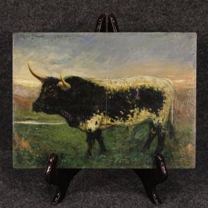 西班牙绘画描绘印象派风格的公牛