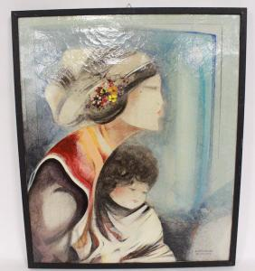 Ölgemälde auf Leinwand einer Frau mit Kind signiert Brescianini da Rovato