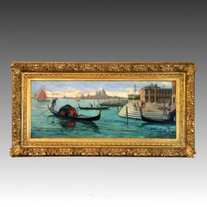Emilio Vasarri, signiertes antikes Gemälde, Venedig
