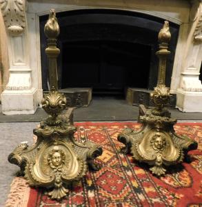 al173 - pair of golden bronze firedogs, cm l 33 xh 56