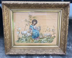 Pair of embroidery on silk with biblical scenes.