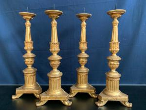 SERIES OF 4 GOLDEN WOODEN CANDLEHOLDERS - 19TH CENTURY