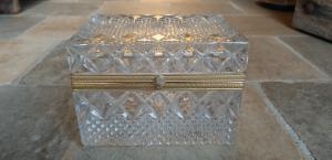 Jewelry box in crystal and gilded bronze