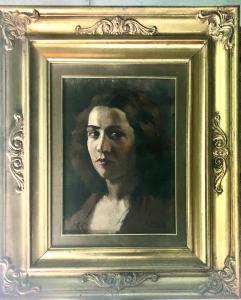 在描述一个女性形象的纸板的油画签名:Massa。