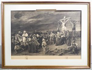 Acquaforte di Karl KÖPPING su dipinto di Mihaly MUNKACSY. Golgota. - Prova di stampa - firmata a lapis Parigi/Londra, 1888