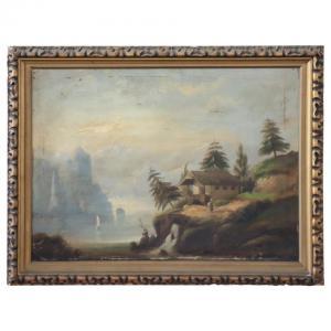 Dipinto antico olio su tela paesaggio lacustre sec. XIX PREZZO TRATTABILE