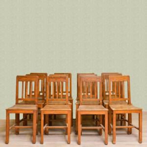 12 Piedmontese oak and chestnut chairs, 12 Piedmontese oak and chestnut chairs