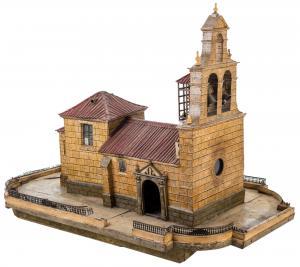 Exquisita maqueta española que representa una iglesia antigua. Muy bien conservado.