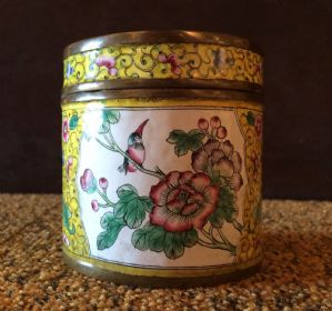 Delightful round box polychrome enameled copper