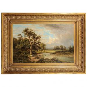 German Antique Painting with an Italian Landscape