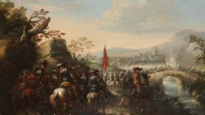 Beautiful oil painting on canvas depicting a battle scene attributed to Francesco Graziani