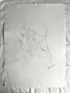Dibujo a lápiz sobre papel, rostro de mujer renacentista Arturo Pietra, Bolonia.