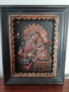 Древняя и интересная полихромная штукатурка с изображением Сан-Джованни и Бамбино, тосканского мастера XVII века