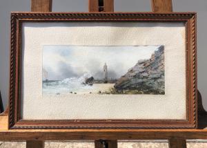 Dipinto a tempera su carta con scena marina.Francia.
