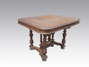 Antico Tavolo stile Eclettico allungabile in Noce fine 800