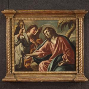 Antico dipinto italiano religioso Cristo confortato dall'angelo del XVIII secolo