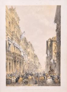 """""""Vista del palacio de la ciudad de Turín"""" - Litografía de Carlo Bossoli, Litografía de Carlo Bossoli"""