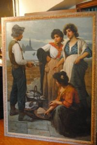 Comari with the fishmonger in Venice with the background of St. George signed Pastega cm. 190 x 140 oil on canvas