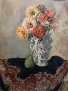Natura morta con vaso di fiori e pera