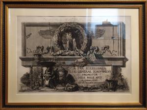 Bassorilievo, chiesa SS. Apostoli, Roma, incisione originale Piranesi, Italia, XVIII secolo