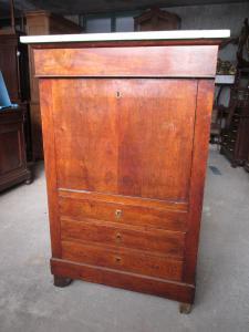 Secretaire in walnut - overturn - mid-19th century writing desk - Empire marble top