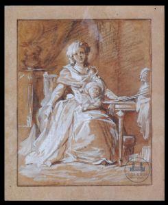 Jean Laurent Mosnier(1743-1808),一个带着孩子的女人的肖像