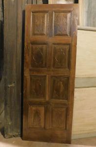 pti675 - porta in noce restaurata, epoca '700, misura cm l 80 x h 217 x sp. 3