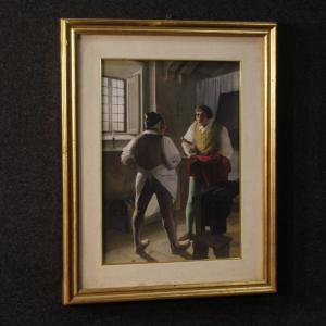 Italian painting interior scene with characters