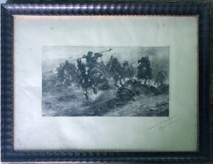 Imprima representando a cena da batalha.
