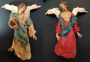 Coppia angeli in terracotta - presepe napoletano inizio XX sec.