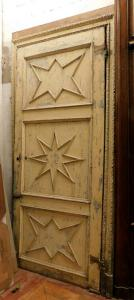 ptl443 large lacquered door with star panels and carved frame;