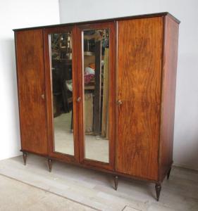 四门带镜子复古衣柜-现代-1950年代60年代
