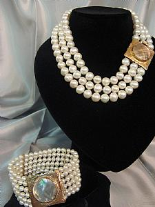 Parure gold and pearls