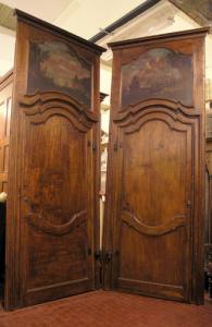 pts382 coppia di porte '700 con sopraporta dipinto mis. 120 x 310 h max