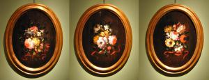 Three bouquets of flowers with red ribbon from the Lombard school of 700 'oil on panel cm. 43 x 32