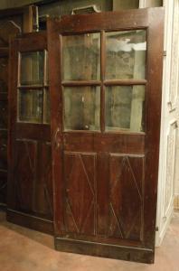 pts720 - coppia di porte a vetri in noce, epoca '700, mis. cm l 88 x h 198